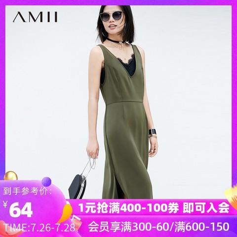 AMII Amii极简chic心机ulzzang夏时尚吊带背心V领连衣裙女显瘦裙子