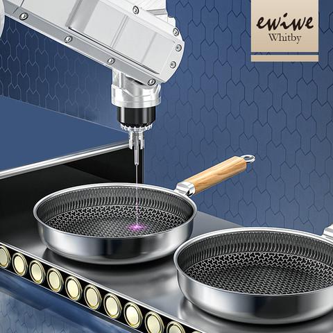 移动端:EWIWE 英国EWIWE 木柄316不锈钢蜂窝不粘锅平底煎锅