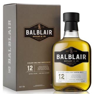 京东PLUS会员 : Balblair 巴布莱尔 苏格兰12年单一麦芽威士忌 高地产区 英国原瓶进口洋酒700ml
