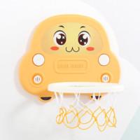 胆小鬼 墙挂免打孔可升降篮球框宝宝投篮玩具 加厚小汽车【黄色】