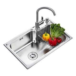 SUPOR 苏泊尔 厨房水槽 304不锈钢冷热水龙头水槽套餐拉伸单槽洗菜盆洗碗盆洗手盆水池(650*430mm)