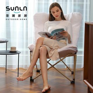SUNLN 圣澜家居 卧室客厅休闲椅子创意单人沙发椅折叠躺椅 蝴蝶椅银河灰