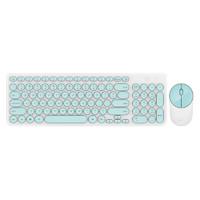 富德 ik6630无线静音键盘鼠标套装 个性圆形巧克力键盘手感舒适 游戏办公家用笔记本台式机电脑 白绿色