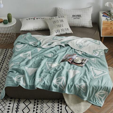 辰枫 家纺 全棉毛巾被单人双人纯棉毛巾毯夏季午睡空调毛毯子 立体三角-绿 200*230cm