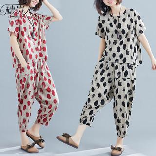 棉绸睡衣套装女夏季宽松大码棉麻两件套家居服时尚可出门休闲外穿