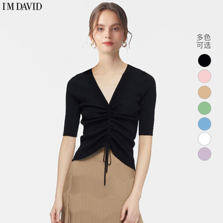 爱大卫2021秋装新款莫代尔棉针织抽绳修身上衣V领打底衫中袖t恤女
