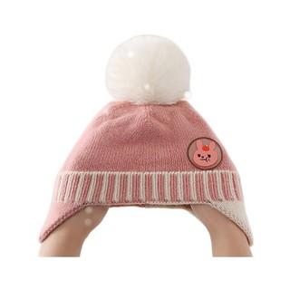 lemonkid 柠檬宝宝 LK2200012 儿童护耳针织帽 水粉兔子 48cm