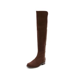 PLUS会员 : STUART WEITZMAN 斯图尔特·韦茨曼 5050 WALNUT SUEDE 女士长筒靴