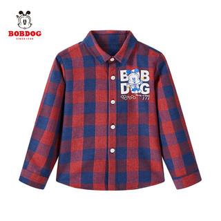巴布豆童装儿童衬衫2021新款格子衬衫男童时尚休闲中小童女童外套