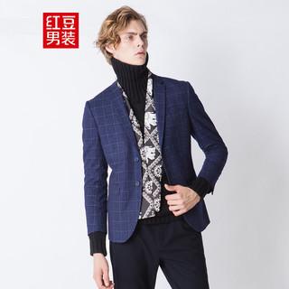 Hodo 红豆 男装2021春新西装男格子西服男休闲高档西服男士西服上衣