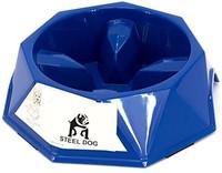 Steel Dog 互动慢速喂食碗,防滑和抗灌溉宠物慢速食物喂食餐具 附赠免费旅行碗(蓝色)