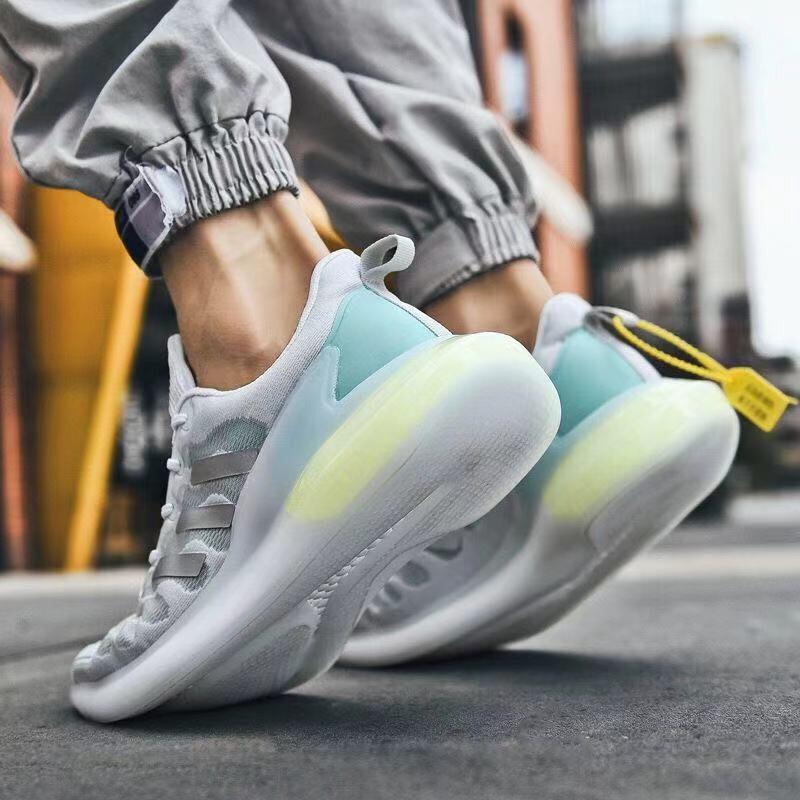 LV BLA CK国际意大利奢侈品男鞋2021夏季透气新款运动鞋阿尔法爆米花清风毛毛虫男士跑步鞋子 白灰色 39