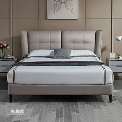 Sleemon 喜临门 麦琪 河豚灰+护脊床垫 真皮卧室双人床 180*200cm