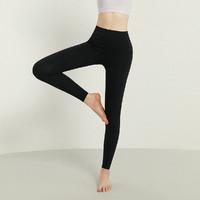 运动健身裤2021夏装新款高腰收腹提臀裤收腰束腰裤塑身美体裤 L 黑色