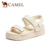CAMEL 骆驼 A12523681 女士织带魔术贴平跟纯色凉鞋