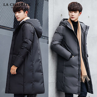 La Chapelle 拉夏贝尔 LA CHAPELLE HOMME中长款加厚羽绒服男韩版连帽男士外套中长款大衣潮
