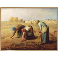 弘舍 米勒 风景人物油画《拾穗》成品尺寸73x55cm 油画布 闪耀金