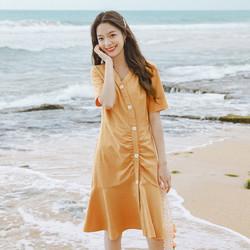 INMAN 茵曼 春夏装女款短袖连衣裙优雅V领修身法式复古格子气质