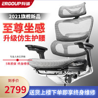 Ergoup/有谱 FLY Pro 电脑椅人体工学椅家用办公椅子可躺后仰旋转网布椅游戏主播椅 升级双背-加大头枕-黑框灰网