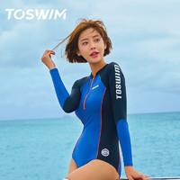 TOSWIM 拓胜 女子连体式泳衣 TS81020693003 深夜蔚蓝 S