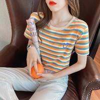棉弹彩虹条纹T恤拉夏贝尔旗下2021夏季圆领港味刺绣休闲体恤