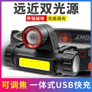 E-SMARTER 头灯强光充电超亮轻小号头戴式电筒远射户外led照明疝气矿灯家用
