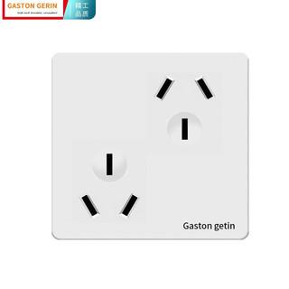 gaston gerin 86型墙壁开关插座面板10A 斜六孔插33插三三孔电源插座6孔插座