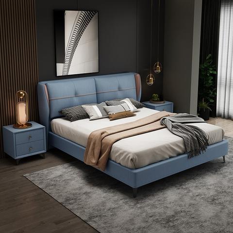 PLUS会员:爱珍家居 现代简约纳米科技布双人床 1.8m 单床+5D乳胶垫+床头柜*2