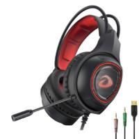 Dareu 达尔优 EH715 耳罩式头戴式动圈有线耳机 黑红色 3.5mm/USB口