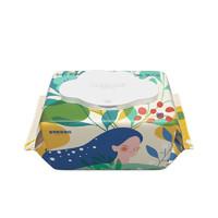 巴布豆(BOBDOG)婴童湿巾加厚婴幼儿手口专用湿纸巾 花巾80抽