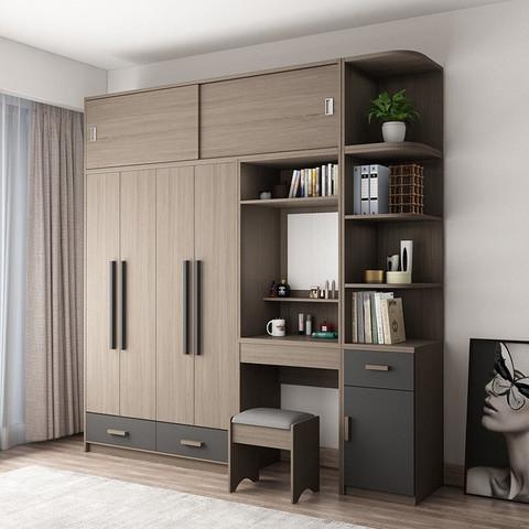 木月衣柜梳妆台组合简约现代经济型家用平开门大衣橱北欧卧室