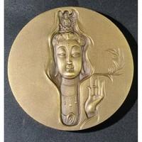 杨柳观音铜章 60mm  165g 黄铜 带证书