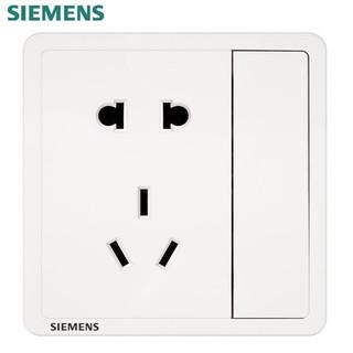 SIEMENS 西门子 开关插座面板 致典系列雅白色开关插座 五孔插座带开关