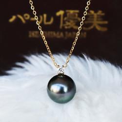 PearlYuumi 優美珍珠 大溪地黑蝴蝶珍珠 女士一颗钻项链