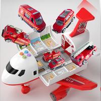 The North E home 北国e家 儿童玩具惯性飞机声光收纳模型+4合金车+11件路标