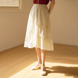 INMAN 茵曼 松紧腰带荷叶边装饰不规则裙摆半身裙文艺淑女