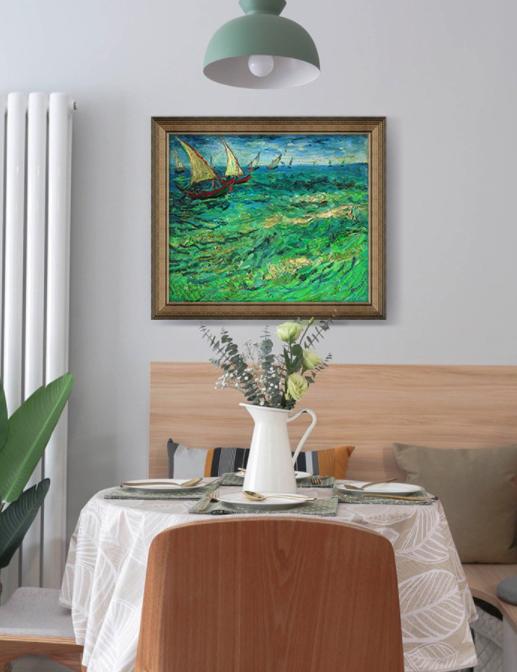 Artron 雅昌 梵高名人油画《帆船海景》67×58cm 现代简约北美式欧式 背景墙装饰画挂画