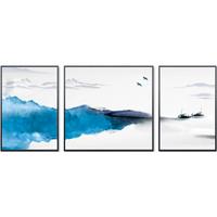 HONGYAN 泓砚 新中式现代简约客厅装饰画 A款 左右40×58中间58×58cm 背景墙画三联画抽象餐厅挂画
