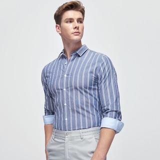 SEPTWOLVES 七匹狼 春季新品男士时尚棉质条纹长袖休闲衬衫