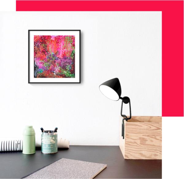 西班牙诺埃米海洋色彩缤纷 《粉色珊瑚》24.5×25.5 2016年 丙烯画 卧室餐厅客厅沙发电视背景墙挂画
