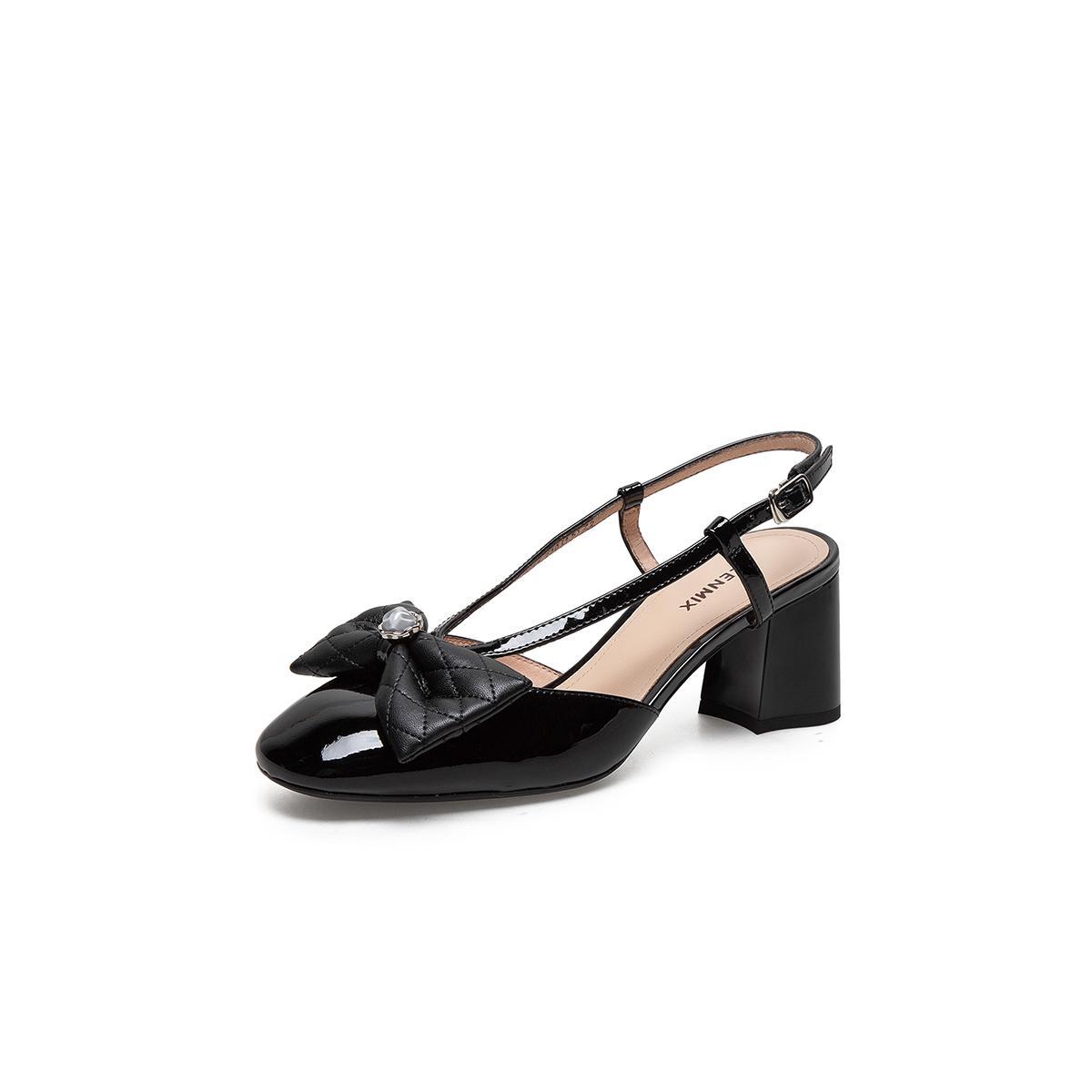 TEENMIX 天美意 TBLCHT35DU1BH1  女士甜美蝴蝶结粗高跟凉鞋