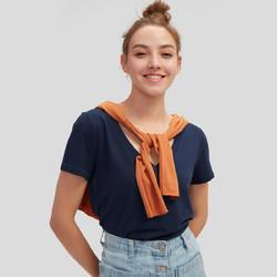 Gap 盖璞 740140  女装纯棉V领短袖T恤