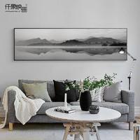 仟象映画 创意风景装饰画工业风黑白客厅挂画 150×40cm 现代摄影卧室床头画