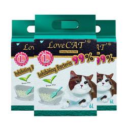 LOVECAT 爱宠爱猫 绿茶豆腐猫砂 6L*3 包