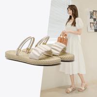AOKANG 奥康 女鞋 2021夏季新品露趾休闲平跟一字带两穿女凉鞋