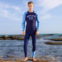 水立方专柜同款 帅气时尚印花男泳裤分体长袖长裤 男款泳装