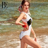 BE范德安喵星人性感连体泳衣抗氯防晒显瘦小胸聚拢海岛度假泳装女 白色 M