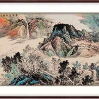 弘舍 吴是亚坤 手绘山水风景国画《云岭飞泉》成品尺寸210x90cm 宣纸 典雅紅褐