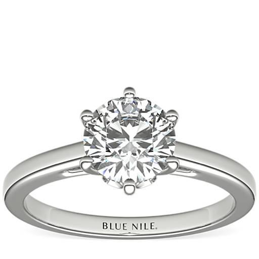 Blue Nile 【周年庆5折】Blue Nile 叶状单石六爪订婚钻戒(仅戒托)