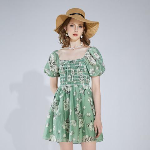 AIVEI 欣贺艾薇 2021夏季新品法式浪漫印花方领雪纺连衣裙